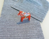 HandWoven Table Runner Black White Light Blue Chaos Shadow Weave Cotton Hand Woven