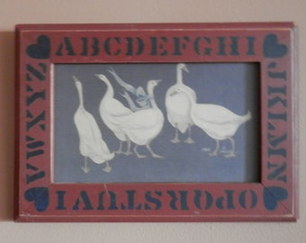 Primitive / Early American Print of Geese  1984