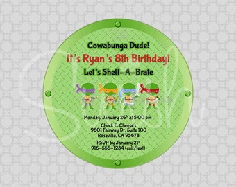 Teenage Mutant Ninja Turtle Digital Birthday Invitation - Printable 5x5 Invite