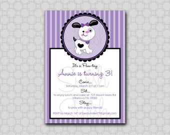 Puppy Birthday Invitation - 5x7 printable digital invite - Stripes  girl  printable digital  invitations
