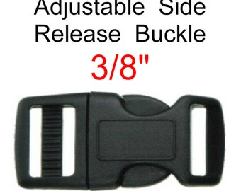 """100 BUCKLES - 3/8"""" - Adustable CURVED SIDE Release, Strap Buckle, Polyacetal Plastic, 9.5mm"""