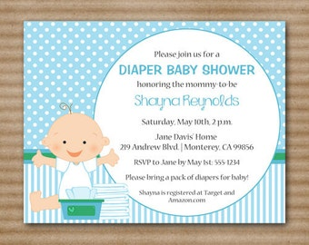 diaper baby shower invi tation boy blue diapers and wipes