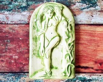 Greek Goddess Aphrodite/Roman Goddess Tana - Bas Relief Plaque - Green Wash on White Stoneware Wall Hanging - Archaic, Primitive Home Decor