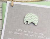 Mint Chevron Baby Elephant Baby Shower Invitation on Grey / handmade by gracie girl notes