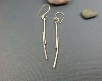 Minimalist gold earrings Modern Simple Gold Dangle earrings