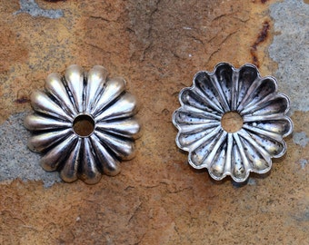 4 Antique Silver 12mm Petal Bead Caps - 2 pairs  - Nunn Designs