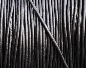 1.5mm Round Metallic Leather Cord - Gunmetal - 2 yards Leather Cording
