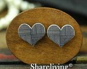 Buy 1 Get 1 Free - 20pcs 16mm  Heart Handmade Photo Wood Cut Cabochon   -- HWC602T