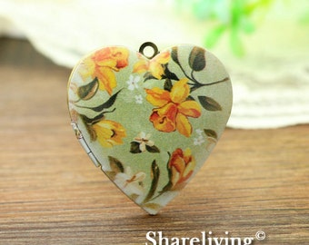 1pcs Vintage Flower Heart Locket Necklace, Antique Bronze Brass Locket, Photo Heart Locket Charm Pendant - HLK904C