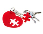 Puzzle Keychain,Puzzle Heart Keychain for Couples,Key Chain Set,Gift for Couples,Heart Keychain,Puzzle Key Ring,Best Friend Keychain