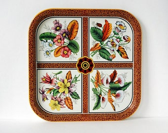 Daher Metal Tray, Colorful Tin Tray, English Tin Tray, Pink Flowers, Kitchen Serving Ware, Orange Leaves, Green Nature, Dark Red Pattern