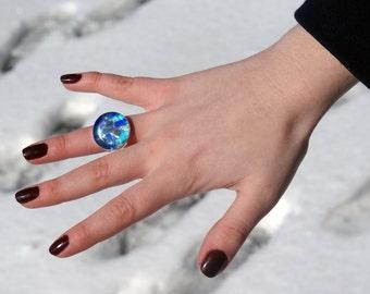 RING - Mosaic Ring , Adjustable Ring, Glass Ring, Blue Mosaic Ring, Statement Ring