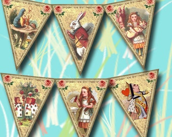 ALiCe in WoNDeRLaND ViCTORIAN BaNNeR Pennants Flags-Printable digital collage sheet JPG Digital File-WhiMsiCAL art altered- NeW LoWER PRiCE