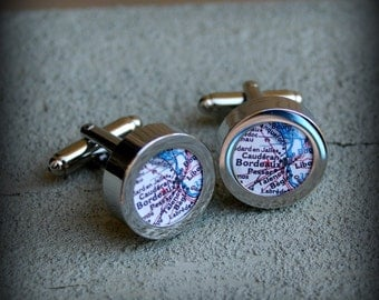 Bordeaux Map Cuff Links - Great Gift
