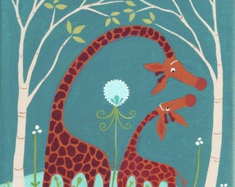 Giraffe Art Print - Whimsical Outsider Folk Artwork Wall Decor - Teal Blue - Kid's Room Nursery Sophie the Giraffe Lover