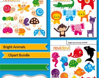 Cute Animals Digital Clipart, bright animals bundle, commercial use clipart