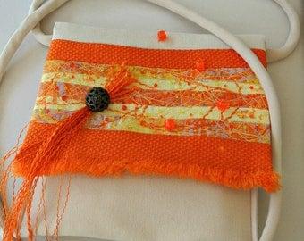 Women's Cross Body Messenger Bag , Orange Yellow Fabric Purse , Small Handmade Handbag , Summer/Fall Purse , Textile Art Purse , Art to Wear