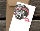 Grey Tabby with Ribbon -- 8 Blank flat cards and envelopes