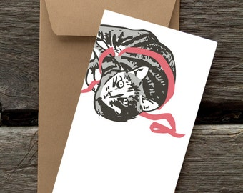 BF21: Grey Tabby with Ribbon - 8 Blank flat cards and envelopes
