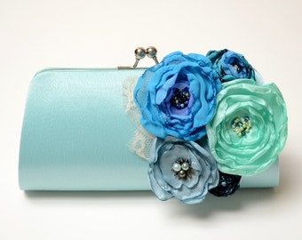 Something Blue Bridal Clutch - Bridesmaid Clutch - Bouquet Clutch - Statement Clutch - Flowers is Blue Aqua Teal Turquoise Mint Green Royal