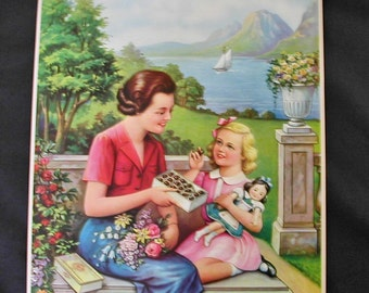 1930's Mother and Child in Garden Box of Chocolates Child Holding Dolly Urn Pastoral Setting