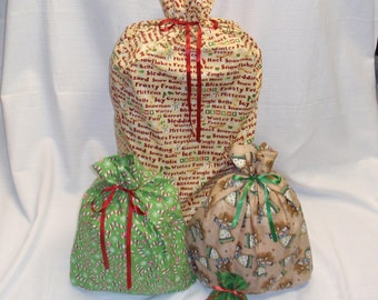 Christmas Gift Bags - 4 Candy Cane Angels -  Reusable Eco-Friendly Cotton Fabric