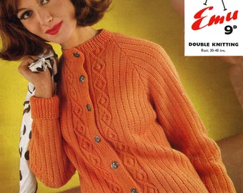 Vintage Ladies Cardigan, Knitting Pattern, 1960 (PDF) Pattern, Emu 2393