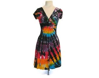 Tie Dye Twisted Front Tee Dress in Black Rainbow