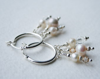 Silver Pearl and Crystal Chandelier Earrings Statement Sparklers