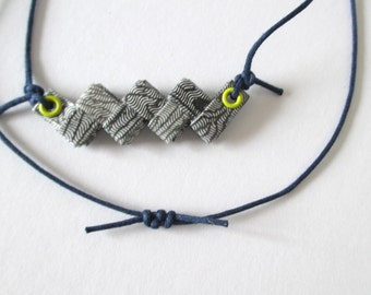 Chevron Necklace Made With Security Envelopes - Black White Lime Navy