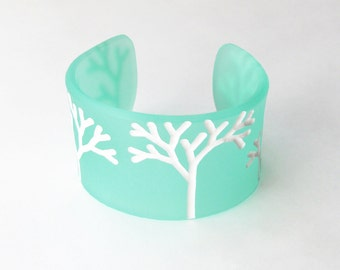 Engraved Cuff Bracelet, Winter WhiteTrees, Modern Plexiglass, Nature Jewelry, Tree Bracelet, Small