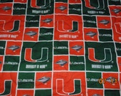University of Miami Basketball Football sport Throw quilt Blanket cotton REVERSIBLE patchwork