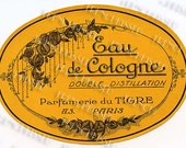 Vintage French Tiger Perfume of Paris Oval Cornflower Cologne Label