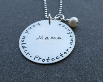 The Mama Necklace Hand Holder Protector Nurturer Hand Stamped Sterling Silver Push Present Mother's Day Gift Ready to ship