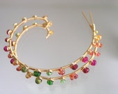 Rainbow Gemstone Hoops, Swirl Earrings, Spiral Dangles, Nautilus, Gold Filled, Sapphire, Tourmaline, Studded, Original Design, Signature