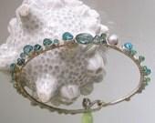 Blue Apatite Silver Bangle,  Stackable Bracelet, Gemstone Bangle, Aqua, Sea Green Emerald, Sapphire, Pearl, Original Design, Signature