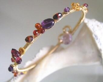 Gemstone Bangle, Gold Stacking Bangle, Wire Wrapped Bracelet, Amethyst, Garnet, Spessartite, Sapphire, Original Design, Signature