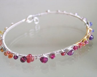 Twilight Gemstone Sterling Silver Bangle, Mixed Metal Bracelet with Colorful Sapphires, Garnet, Amethyst, Tanzanite