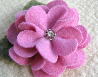 Mauve Pink Zinnia Brooch - Recycled Sweater Wool Flower Pin with Jeweled Button