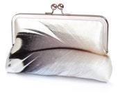 Clutch bag, feather purse, black and white plumage, bridesmaid gift, printed silk, gift box, FEATHER