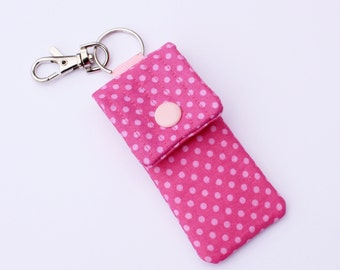 Keyring essential oil pouch USB case pink polka dot print fabric pouch