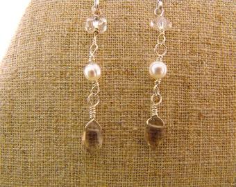 Classic Beauty. Pearl. Quartz Crystal. Smoky Quartz Sterling Silver Drop Earrings