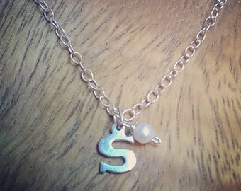 Classic Monogram Initial Sterling Silver Neckace with pearl You choose letter