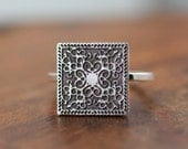 Sterling Silver Etched Squared Scroll Ring