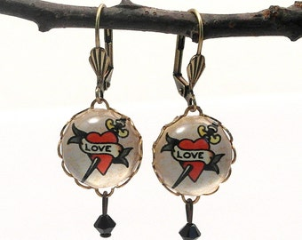 Love Dagger Round Earrings Tatoo Art Valentine or Anytime