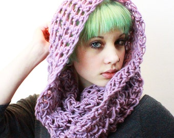 The Favorite Cowl neck chunky hood scarf circle eternity Lilac Sugared Plum Purple wool
