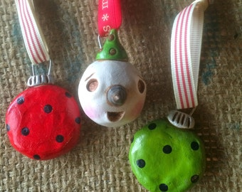 Set of Three Christmas Folk Art Ornaments snowman and polka balls in white red and green