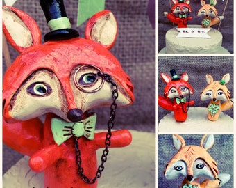 Red Foxes in love Wedding cake topper with monocle and bow tie for your Woodland Rustic Wedding