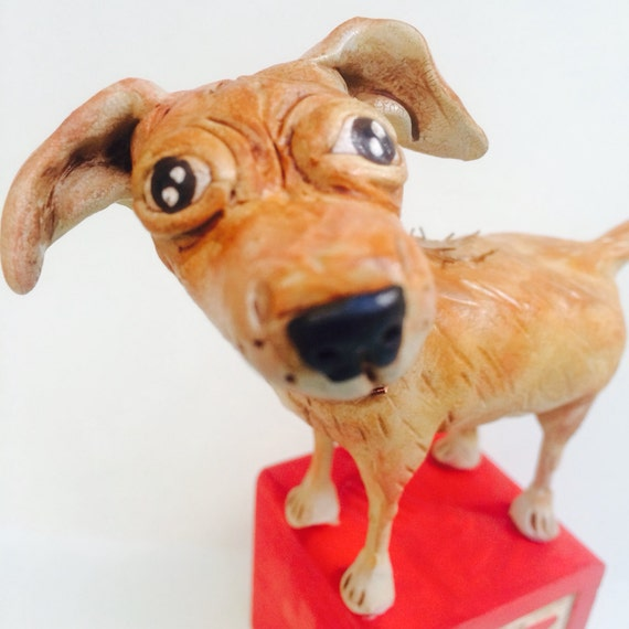 Custom Dog Pet Pooch clay folk art sculpture