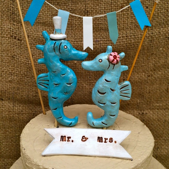 Turquoise Seahorses cake topper  for your Rustic Beach Wedding